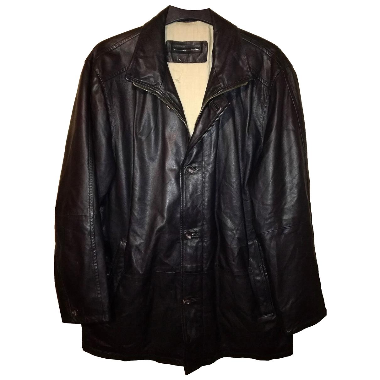 Bugatti - Manteau   pour homme en cuir - noir