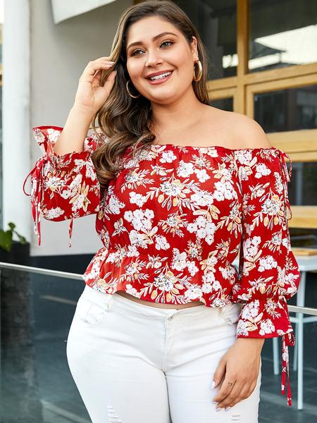 YOINS Plus Size Red Floral Print Off The Shoulder Blouse