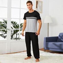Men Striped Colorblock Pajama Set