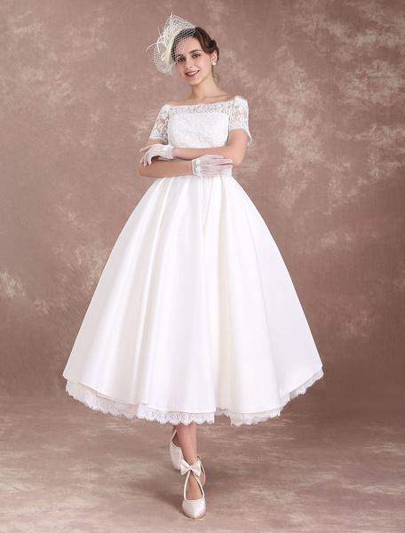 Milanoo Short Wedding Dresses Vintage Bridal Dress 1950's Bateau Lace Short Sleeve Ivory Bow Sash Tea Length Wedding Reception Dress
