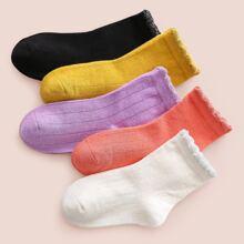 5 Paare Kleinkind Maedchen gerippte Socken