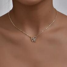 Rhinestone Letter Charm Necklace
