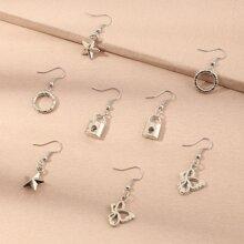 4pairs Toddler Girls Star Drop Earrings