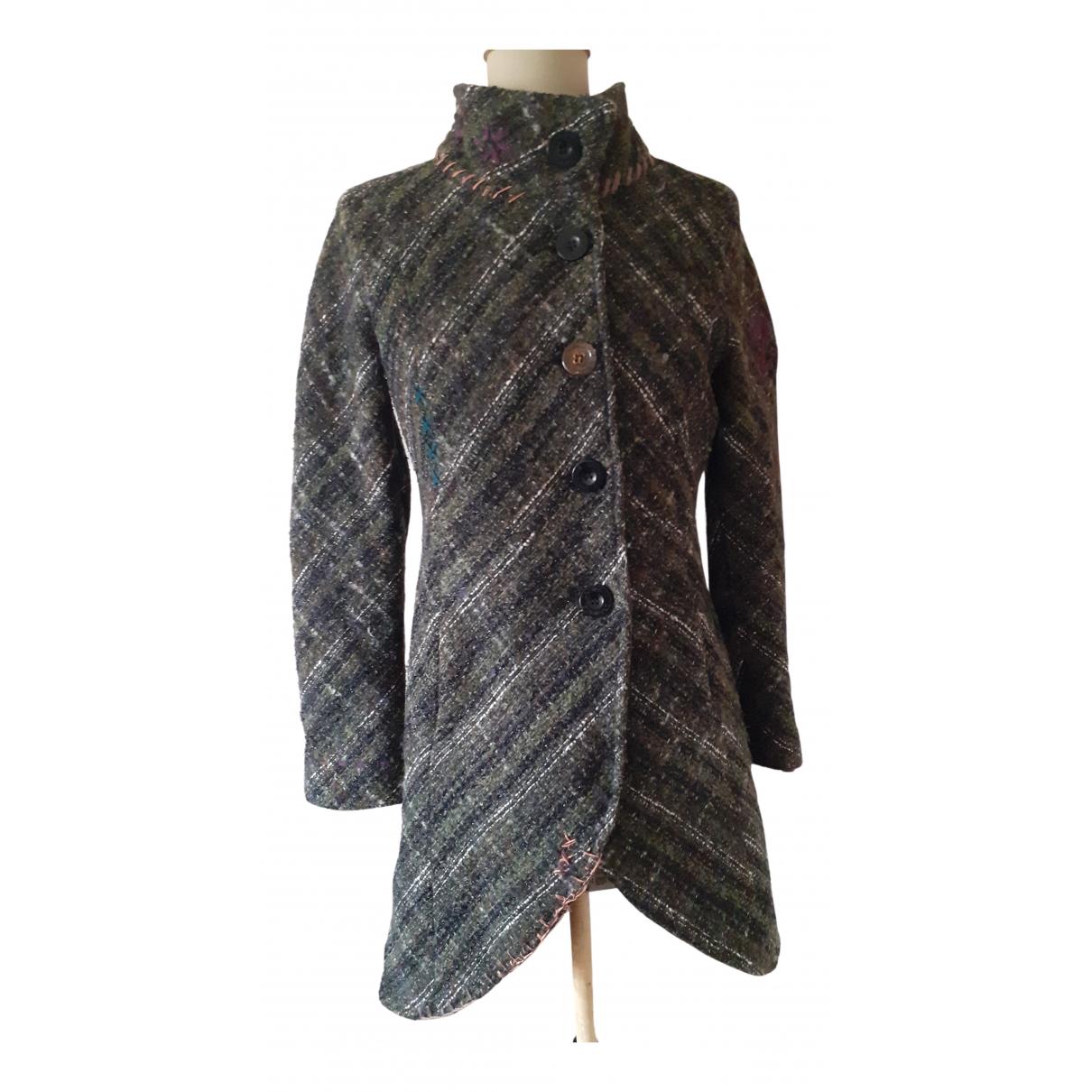 Desigual - Manteau   pour femme en laine - vert