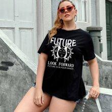 T-Shirt mit abstrakter Sonne & Buchstaben Grafik