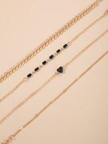 4pcs Leaf & Heart Decor Chain Bracelet