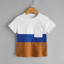 Toddler Boys Cut And Sew Panel Pocket Front Tee