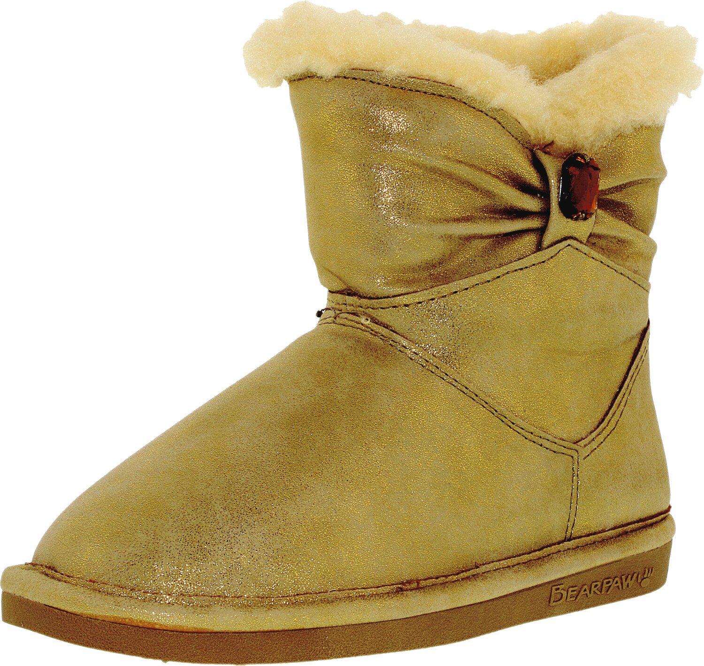 Bearpaw Girl's Robyn Youth Faux Suede/Sheepskin/Wool Gold Ankle-High Sheepskin Boot - 9M