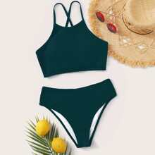 Tie Back High Waisted Bikini Swimsuit