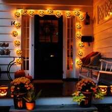1pc String Light With 20pcs Pumpkin Shaped Bulb