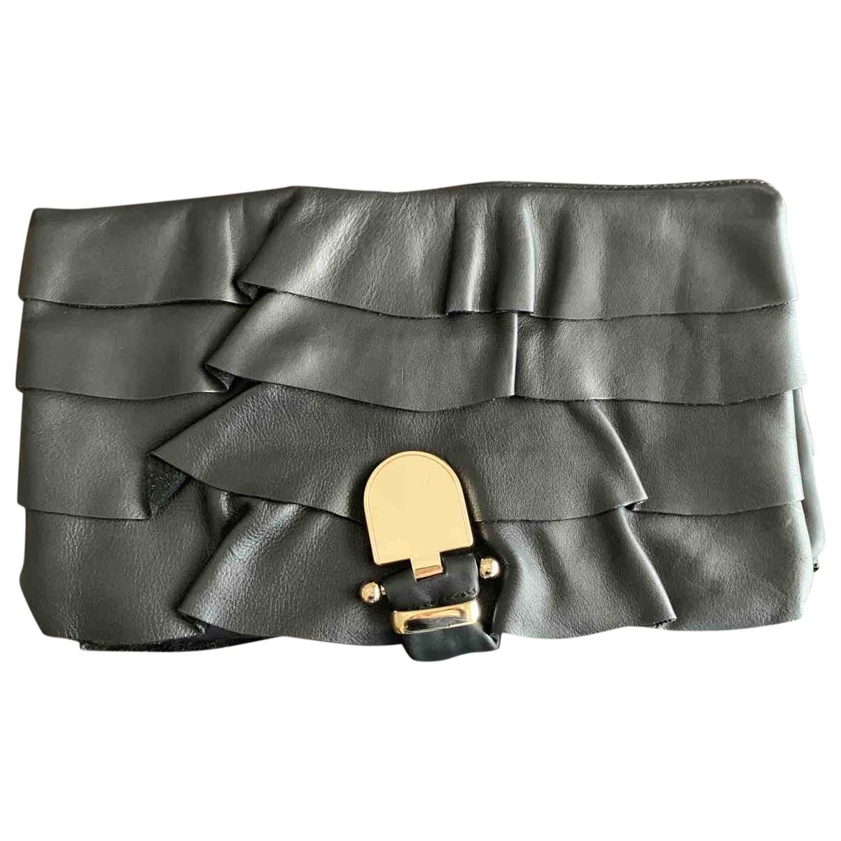 Uterque - Pochette   pour femme en cuir - noir