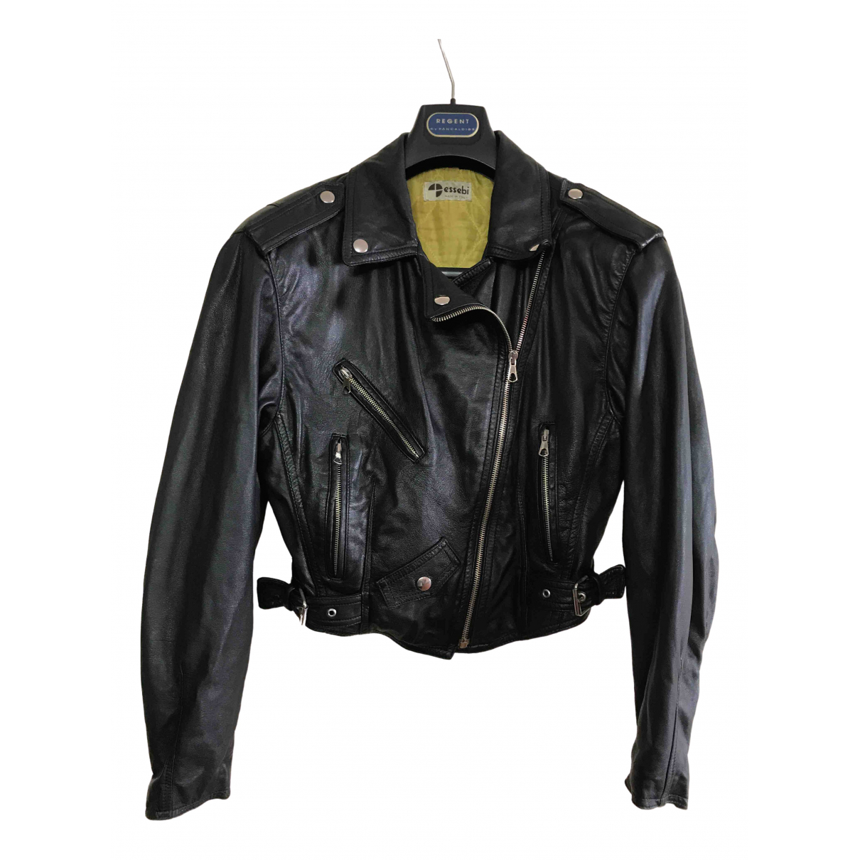 Non Signé / Unsigned \N Black Leather Leather jacket for Women S International