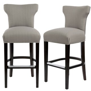 Sole Designs Bella Collection Modern SACHI Fabric Upholstered Counter Bar Stool with Nail Trim & Wingback Design (greyish-brown)