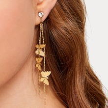 1pair Butterfly Decor Long Strip Drop Earrings