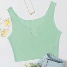 Notch Neck Solid Tank Top