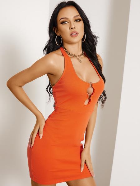 YOINS Sexy Backless Cut Out Knit Halter Sleeveless Dress