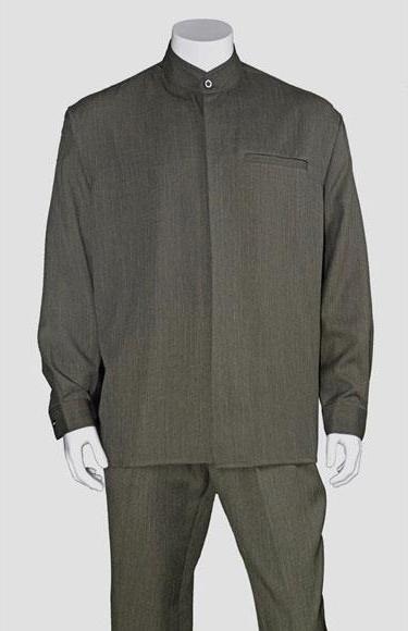 Men's Long Sleeve Olive Mandarin / Banded Collar Casual Walking Suit