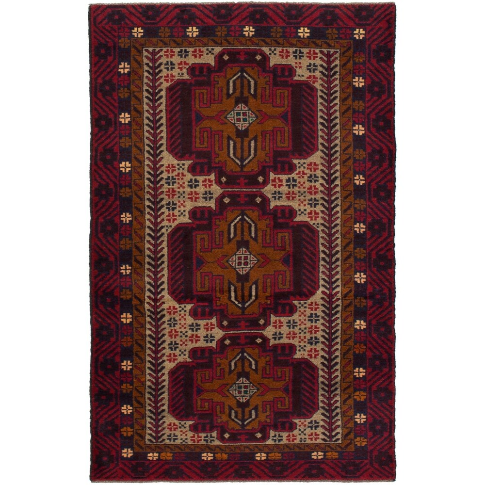 ECARPETGALLERY Hand-knotted Teimani Red Wool Rug - 34 x 65 (Red - 34 x 65)
