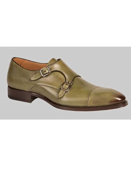 Mens Olive Italian Calfskin Double Buckle Cap Toe Leather Shoes Brand