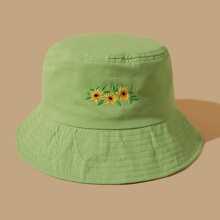 Sombrero cubo con bordado de margarita