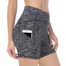 Queenieke shorts biker tejidos marled de cintura ancha con bolsillo de movil