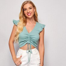 Ruffle Armhole Drawstring Ruched Front Crop Top