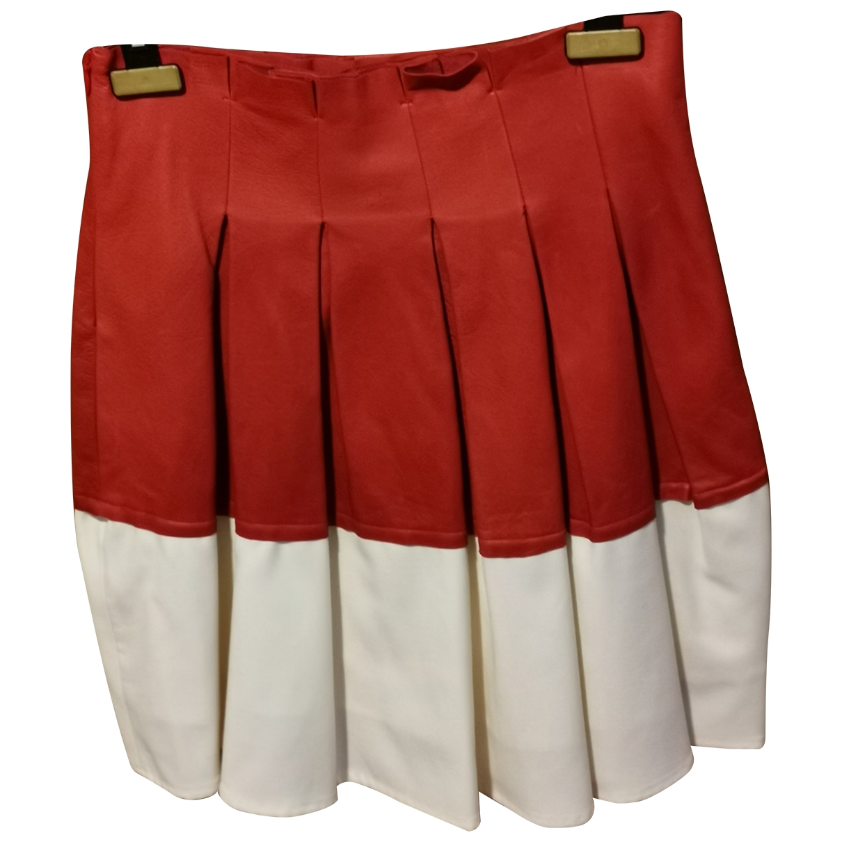 - Jupe   pour femme en cuir - rouge