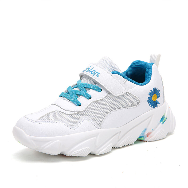 HOBIBEAR Unisex Kids Daisy Mesh Fabric Tie-dye Sole Sports Shoes Soft Sole White Chunky Sneakers