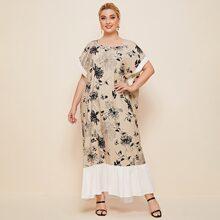 Plus Floral Print Dolman Sleeve Contrast Cuff and Hem Dress