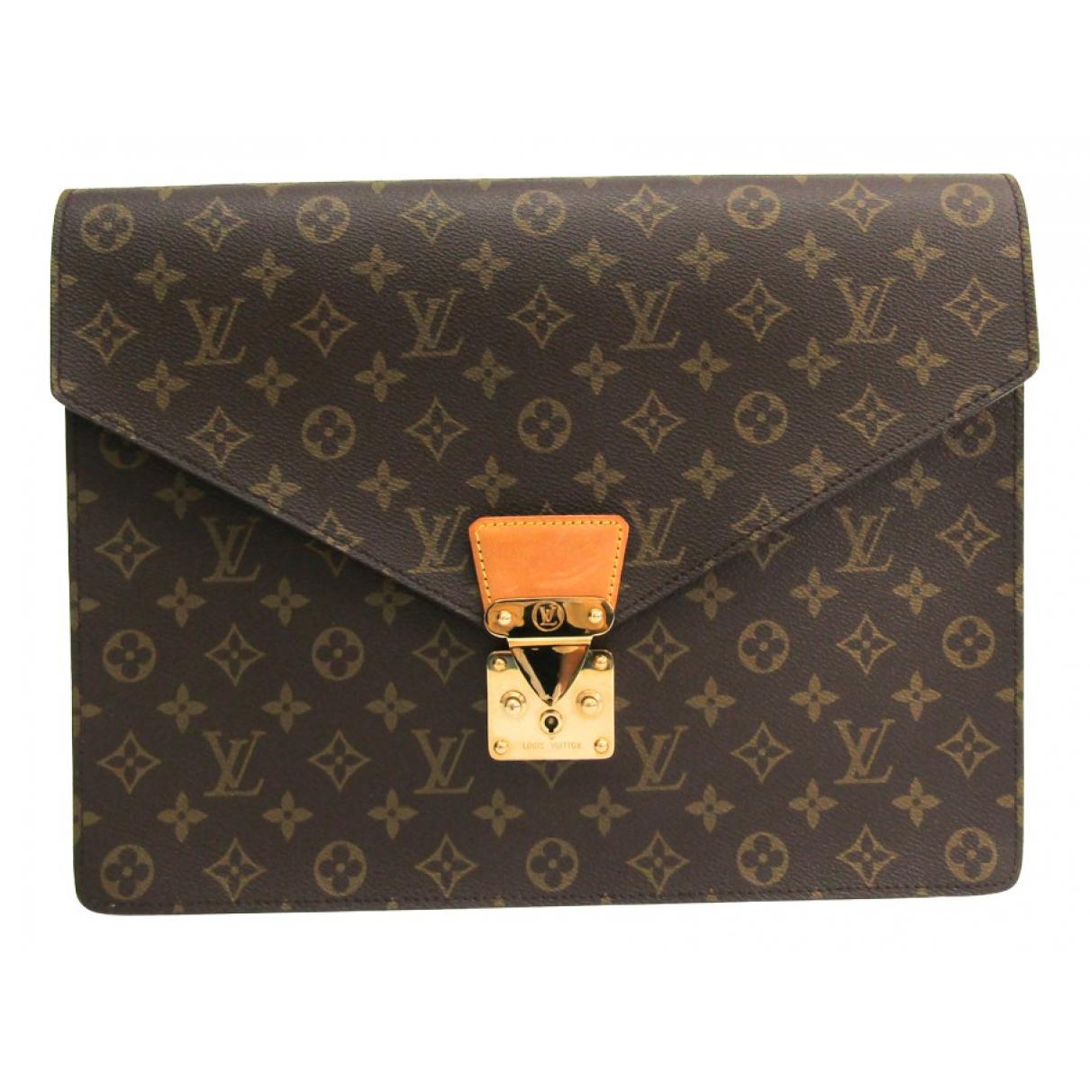 Louis Vuitton - Pochette Serviette Ambassadeur pour femme en toile - marron