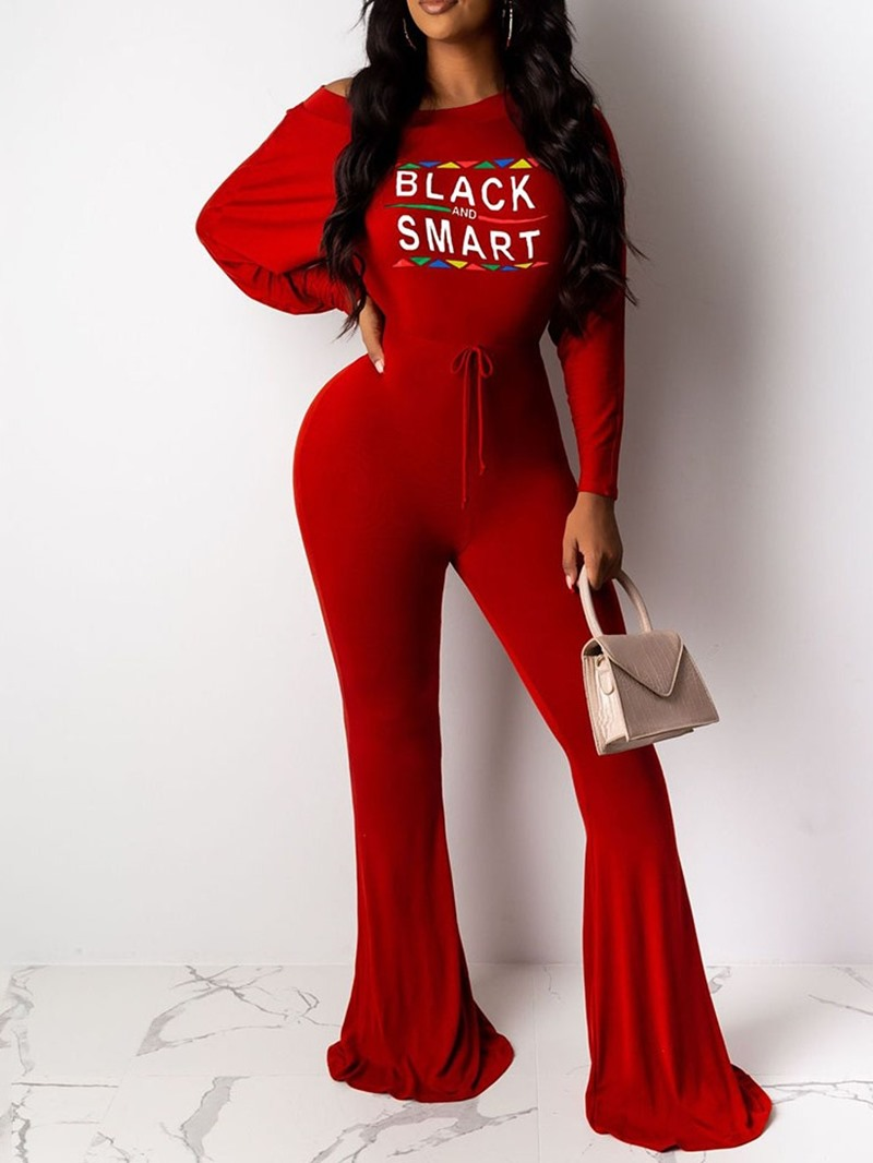 Ericdress Casual Full Length Color Block Slim Bellbottoms Jumpsuit