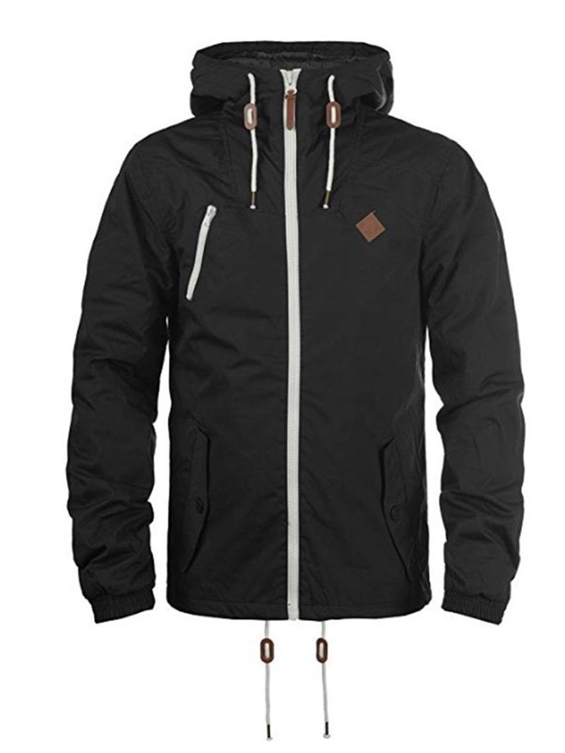 Ericdress Plain Zipper Lace Up Mens Hooded Jacket