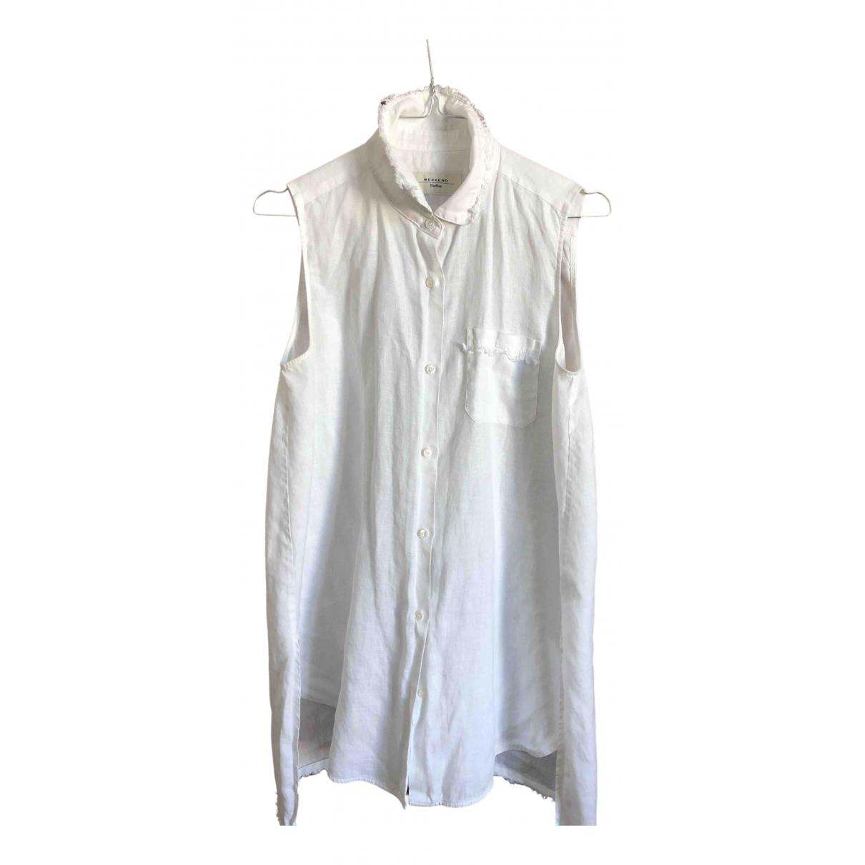Max Mara Weekend \N White Linen  top for Women 42 IT