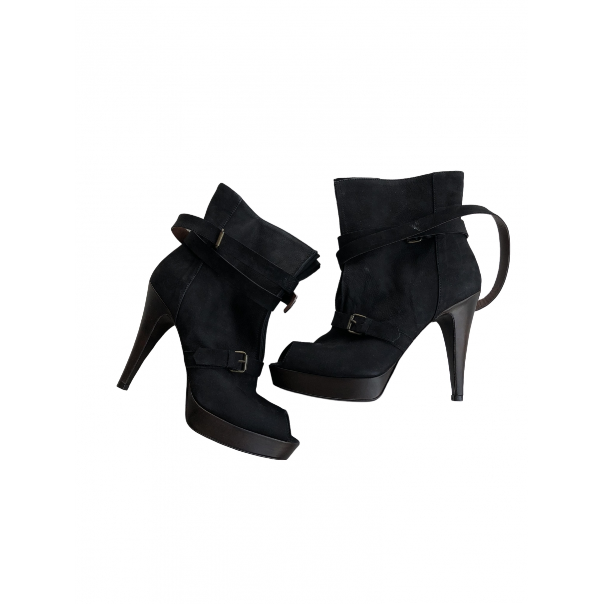Fiorifrancesi \N Anthracite Leather Ankle boots for Women 38 EU