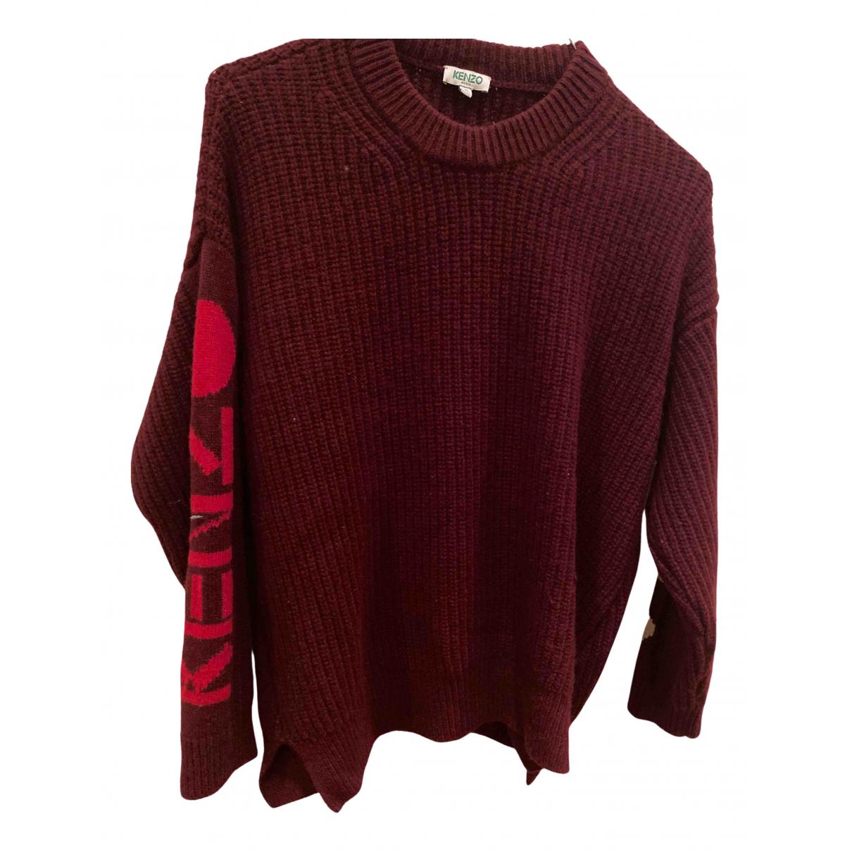 Kenzo - Pull   pour femme en laine - bordeaux