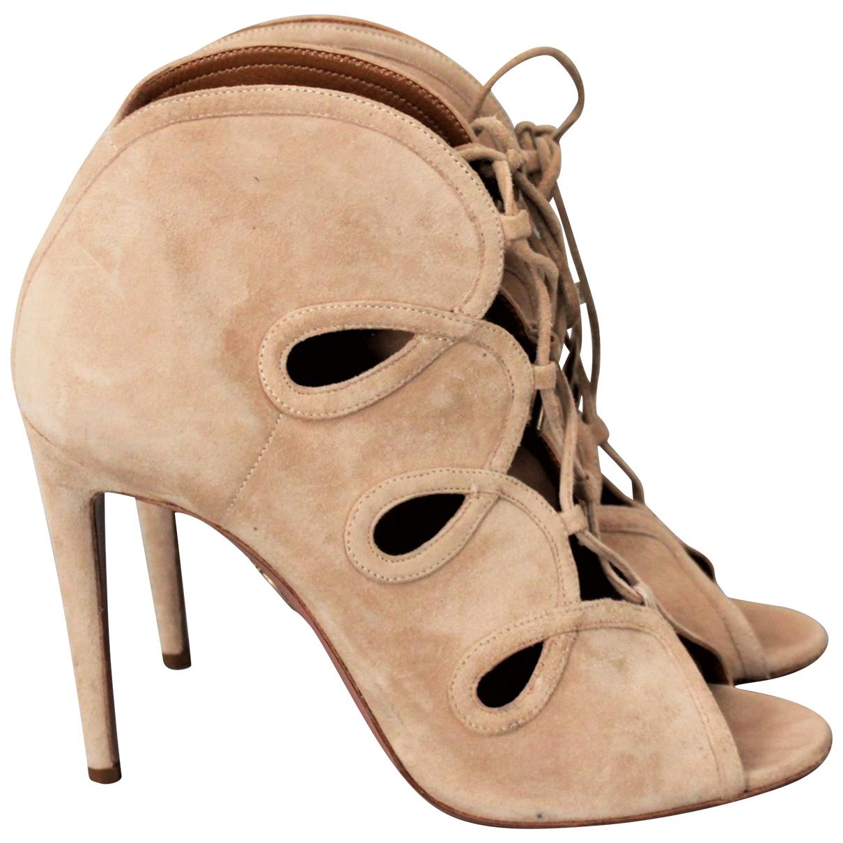 Aquazzura \N Beige Suede Sandals for Women 39 EU