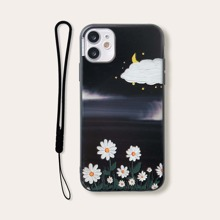 Flower Pattern iPhone Case With Lanyard