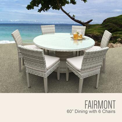 FAIRMONT-60-KIT-6C Fairmont 60 Inch Outdoor Patio Dining Table with 6 Armless Chairs with 1 Cover in