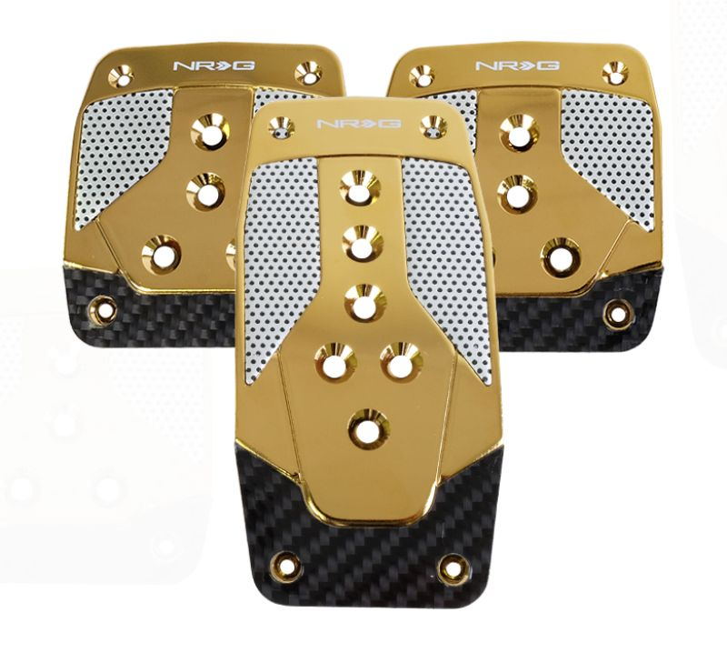 NRG PDL-400CG Aluminum Pedal Pad Cover Plates Chrome Gold Black Carbon 3-Piece MT
