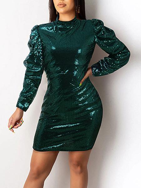 Milanoo Vestido club Cuello alto Cremallera sexy Manga larga Lentejuelas Vestido verde oscuro sexy