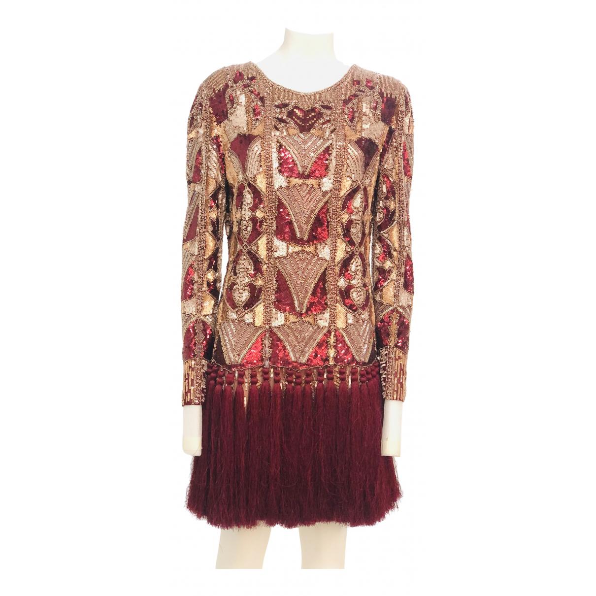 Just Cavalli \N Kleid in  Bordeauxrot Mit Pailletten