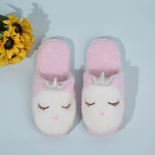 Round Toe Cartoon Graphic Fluffy Slippers
