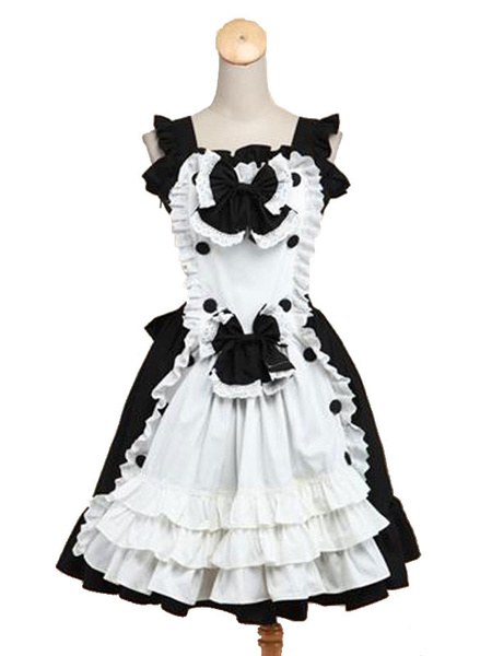 Milanoo Maid Lolita JSK Jumper Skirt Square Neck Sleeveless Ruffles Bows Frills Two Tone Black Lolita Dress
