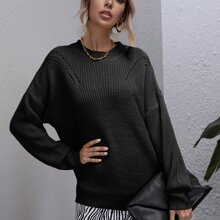 Drop Shoulder Open Knit Sweater