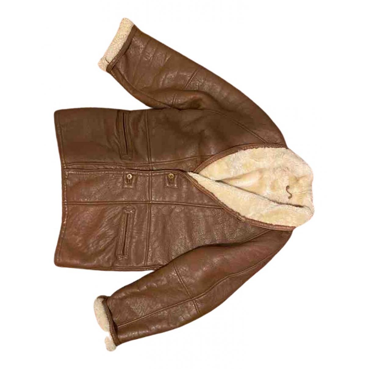 Shearling - Manteau   pour homme en cuir - marron