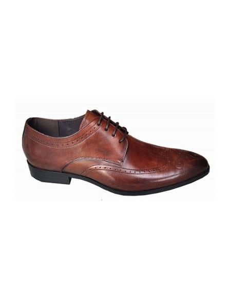 Mens Lace Up Four Eyelet Lacing Brown Shoe