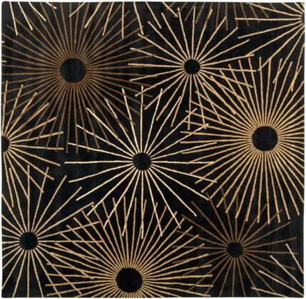 Forum FM-7090 4' Square Modern Rug in Black  Dark Brown  Khaki  Camel