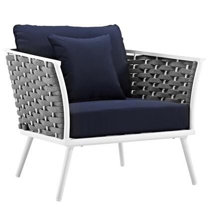 Stance Collection EEI-3054-WHI-NAV Outdoor Patio Aluminum Armchair in White Navy