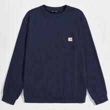 Pullover mit Taschen vorn und Flicken Detail
