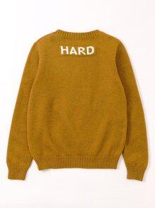 Boys Letter Pattern Back Sweater